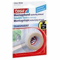 Tesa powerbond dubbelzijdige montagetape transparant - 1,5 m x 19 mm.