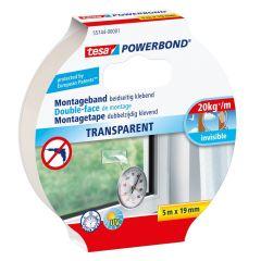 Tesa powerbond dubbelzijdige montagetape transparant - 5 m x 19 mm.