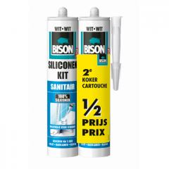 Bison siliconenkit sanitair wit - 300 ml. duoverpakking