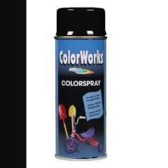 Motip Colorspray hoogglanslak RAL 9005 gitzwart - 400 ml.