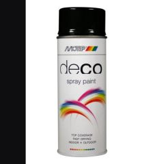 Motip deco alkyd hoogglans lak RAL 9005 diep zwart - 400 ml.