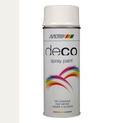 Motip deco alkyd hoogglans lak RAL 9016 verkeerswit - 400 ml.