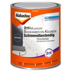 Alabastine muurverf 2in1 badkamer en keuken schimmelbestendig antraciet - 1 liter