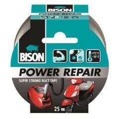Bison power repair tape grijs - 25 meter