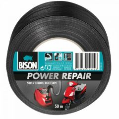 Bison power repair tape zwart - 50 meter