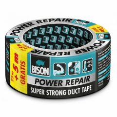 Bison power repair tape grijs - 25 meter + 5 meter