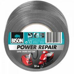 Bison power repair tape grijs - 50 meter