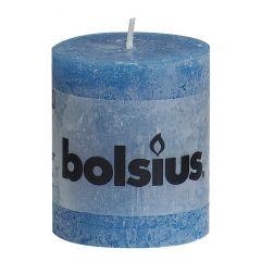 Bolsius stompkaars rustiek zeeblauw - 80 x 68 mm