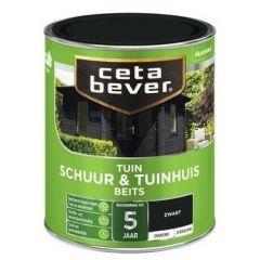 Cetabever schuur & tuinhuis beits dekkend zwart - 750 ml.