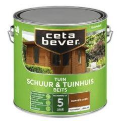 Cetabever schuur & tuinhuis beits transparant zijdeglans donker eiken - 2,5 liter