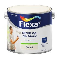 Flexa strak op de muur matte muurverf roomwit - 2,5 liter