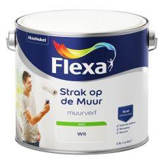 Flexa strak op de muur matte muurverf wit - 2,5 liter