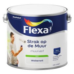 Flexa strak op de muur matte muurverf wolkenwit - 2,5 liter