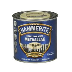 Hammerite direct over roest metaallak hoogglans crème - 250 ml.