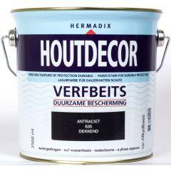Hermadix houtdecor verfbeits antraciet - 2,5 liter