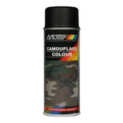 Motip camouflagelak mat RAL 9021 teerzwart - 400 ml.