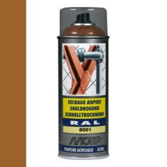 Motip industrial acryllak hoogglans RAL 8001 okerbruin - 400 ml.
