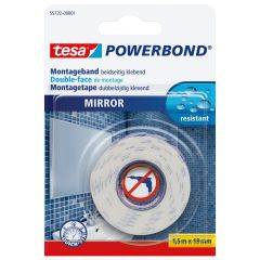 Tesa powerbond dubbelzijdige montagetape spiegels - 1,5 m x 19 mm.