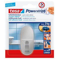 Tesa 58261 powerstrips haak large ovaal RVS