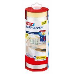 Tesa easy cover afdekfolie + afplakband in dispenser 17 x 2,6 meter