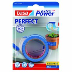 Tesa extra power perfect textieltape blauw blisterverpakking - 2,75 m x 19 mm.