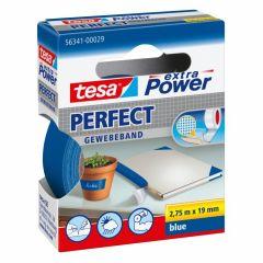 Tesa extra power perfect textieltape blauw hangdoosje - 2,75 m x 19 mm.