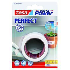 Tesa extra power perfect textieltape wit blisterverpakking - 2,75 m x 38 mm.