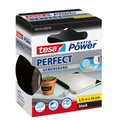 Tesa extra power perfect textieltape zwart hangdoosje - 2,75 m x 38 mm.