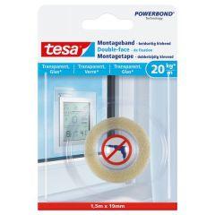 Tesa montagetape dubbelzijdig voor transparant & glas - 1,5 m x 19 mm.