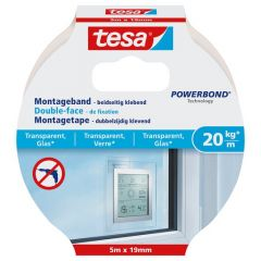Tesa montagetape dubbelzijdig voor transparant & glas - 5 m x 19 mm.