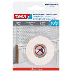 Tesa montagetape dubbelzijdig voor behang & pleisterwerk 10 kg/m - 1,5 m x 19 mm.