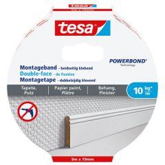 Tesa montagetape dubbelzijdig voor behang & pleisterwerk 10 kg/m - 5 m x 19 mm.
