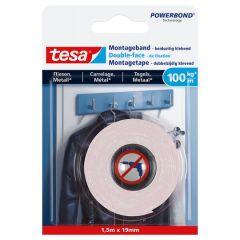Tesa montagetape dubbelzijdig voor tegels & metaal - 1,5 m x 19 mm.