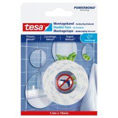 Tesa montagetape dubbelzijdig waterproof voor tegels & metaal - 1,5 m x 19 mm.