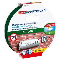 Tesa powerbond outdoor dubbelzijdige montagetape - 5 m x 19 mm.